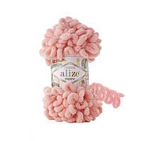 Пряжа Alize Puffy 529 персиковый (Пуффи Ализе) для вязания без спиц руками с петельками петлями