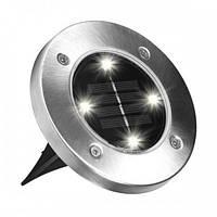 Уличный светильник садовый на солнечной батарее Solar Disk Lights 5050 Серый 210096, КОД: 1290453