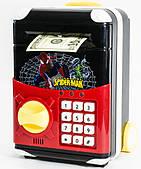 Игрушечный сейф Spider Man Cartoon Bank с кодовым замком Спайдер мен на колесах как чемодан сейф