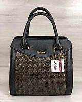 Каркасная женская сумка Эбби черного цвета со вставками золото, фото 1