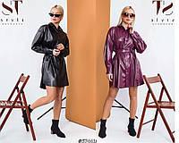 Стильное платье-рубашка из эко кожи /разные цвета, 42-48, ST-57442/