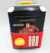 Игрушечный сейф Iron Man Cartoon Bank с кодовым замком Железный человек на колесах как чемодан сейф