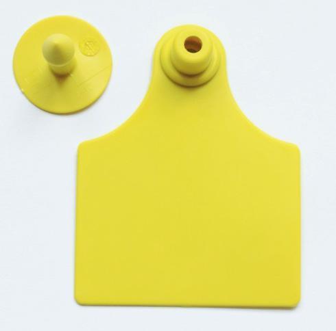 Ушная бирка ZORYA ANIMAL ID 61х78-28 мм. для идентификации КРС и свиней цвет желтый