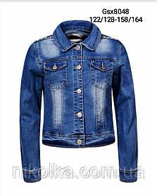 Джинсовая куртка для девочек оптом, Glo-story, 122/128-158/164 рр., арт. GSX-8048
