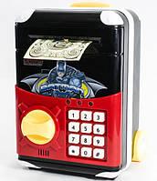 Игрушечный сейф Batman Cartoon Bank с кодовым замком Бетмен на колесах как чемодан сейф, фото 1