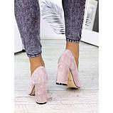 Женские туфли на каблуке пудра натуральная замша 7243-28, фото 2