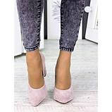 Женские туфли на каблуке пудра натуральная замша 7243-28, фото 4