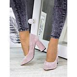 Женские туфли на каблуке пудра натуральная замша 7243-28, фото 5