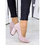 Женские туфли на каблуке пудра натуральная замша 7243-28, фото 6