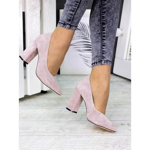 Женские туфли на каблуке пудра натуральная замша 7243-28