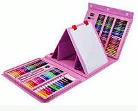 Набор для рисования 208 предметов с мольбертом Розовый
