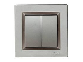 Выключатель двойной Luxel JAZZ (9703) Графитовый