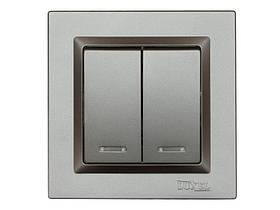Выключатель двойной с подсветкой Luxel JAZZ (9706) Графитовый