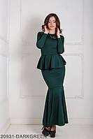 Елегантне вечірнє плаття-рибка з довгим рукавом і басками на талії Laura