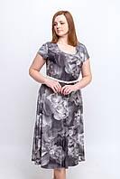 Женское летнее платье с 3D принтом. Размер 52-54