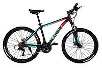 Горный велосипед Trinx MAJESTIC M100 Matt-Black-Red-Cyan 26 колеса х 19 рама