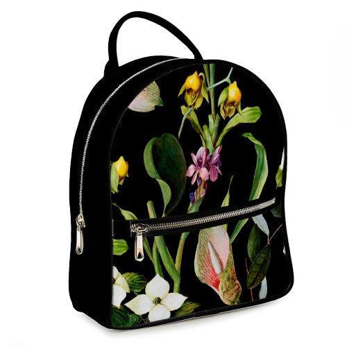 Міський жіночий рюкзак Тропічні квіти (ERK_17A001_BL)