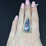 Натуральный агат кольцо с камнем агат в серебре кольцо капля с агатом 17,8 размер., фото 2