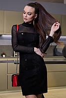 Элегантное Платье-Футляр Короткое с Вставками из Сетки Черное S-XL XL