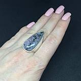 Натуральный агат кольцо с камнем агат в серебре кольцо капля с агатом 17,8 размер., фото 4