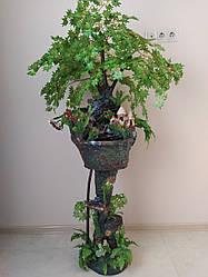 Кімнатний фонтан ручної роботи, для кімнатного затишку з замком та деревами