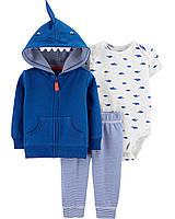 """Спортивный костюм для мальчика """"Акула"""" Carter's , синий набор для малыша картерс 3 мес/55-61 см"""