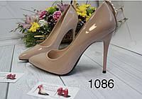 Туфлі жіночі класичні  бежеві,лакові, фото 1