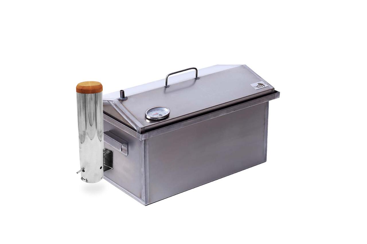 Коптильня с термометром и дымогенератором для горячего копчения (520х300х310)