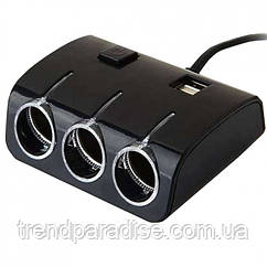 Автомобильный разветвитель тройник UKC 1506A + 2 USB 120W Чёрный