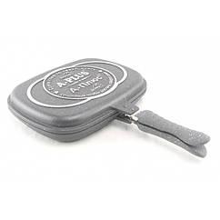 Сковорода-гриль двухсторонняя с мраморным покрытием A-PLUS 1502 (32см)