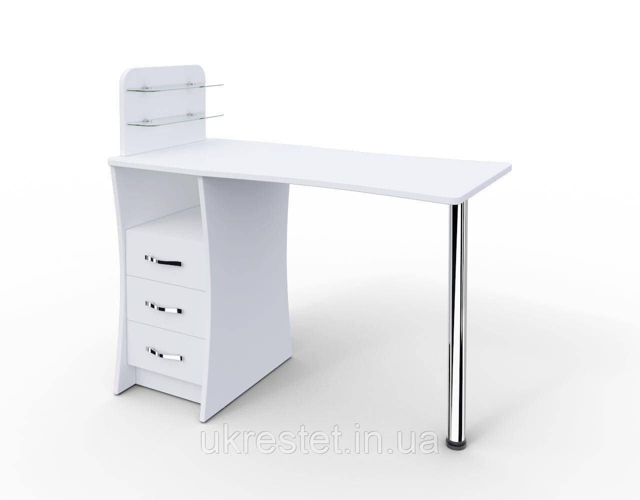 """Маникюрный стол """"Элегант"""" c стеклянными полочками под лак"""
