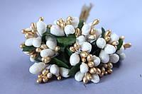 Декоративные веточки с тычинками около 144 шт/уп. в глитерной обсыпке белый с золотом оптом, фото 1