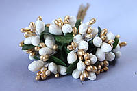 Декоративные веточки с тычинками около 144 шт/уп. в глитерной обсыпке белый с золотом оптом