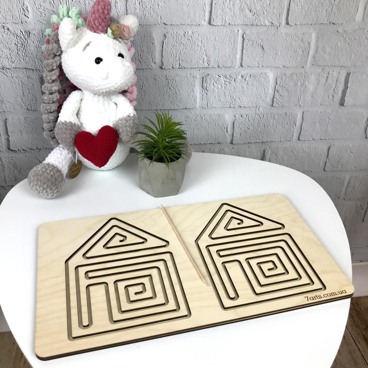 Деревянная межполушарная доска для детского развития «Домик»