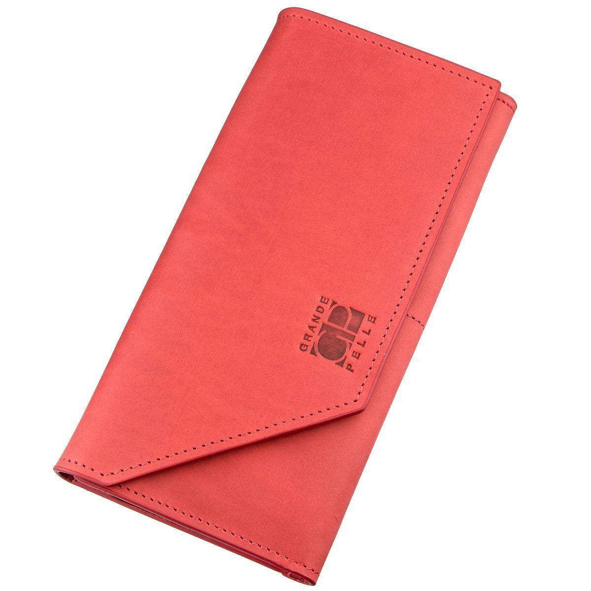Кожаный Горизонтальный Клатч Унисекс Из Итальянской Кожи Grande Pelle 11216 Красный, Красный
