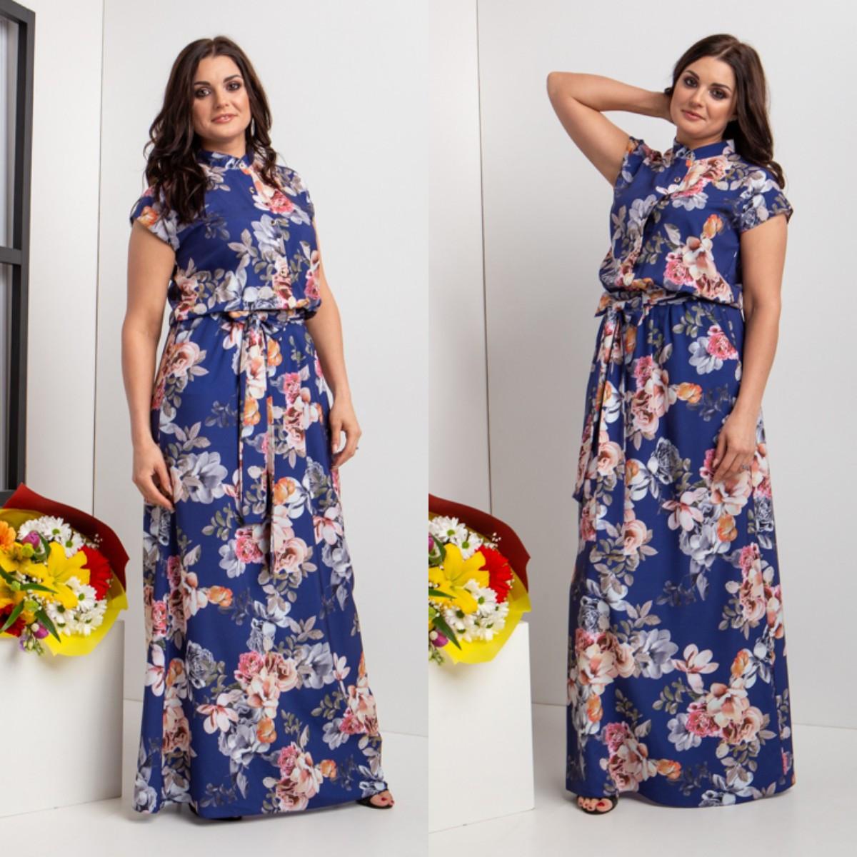 Красивое длинное летнее платье с пуговицами 44-64 р-ры