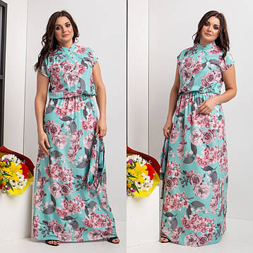 Красивое длинное летнее платье с пуговицами 44-64 р-ры, фото 2