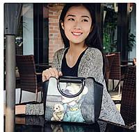 Женская сумка через плечо с принтом девушки, фото 1