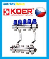 Коллекторный блок с термостатическими клапанами KOER для на 5 контуров
