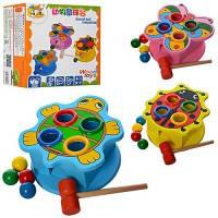 Деревянная игрушка Стучалка MD0045 молоток, шарики 4шт, в коробке 19*18*12см