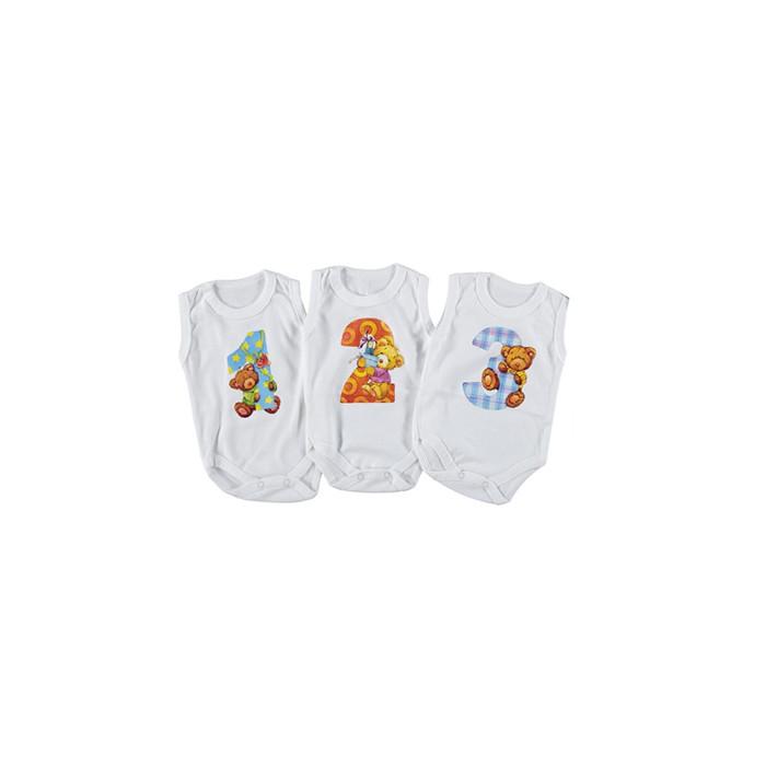 Бодик для новорожденных с месяцем Турция  на 1-3 месяца белый 265952