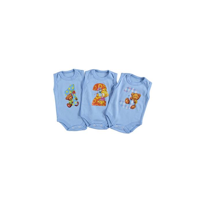 Бодик для новорожденных с месяцем Турция  на 1-3 месяца синий 265952