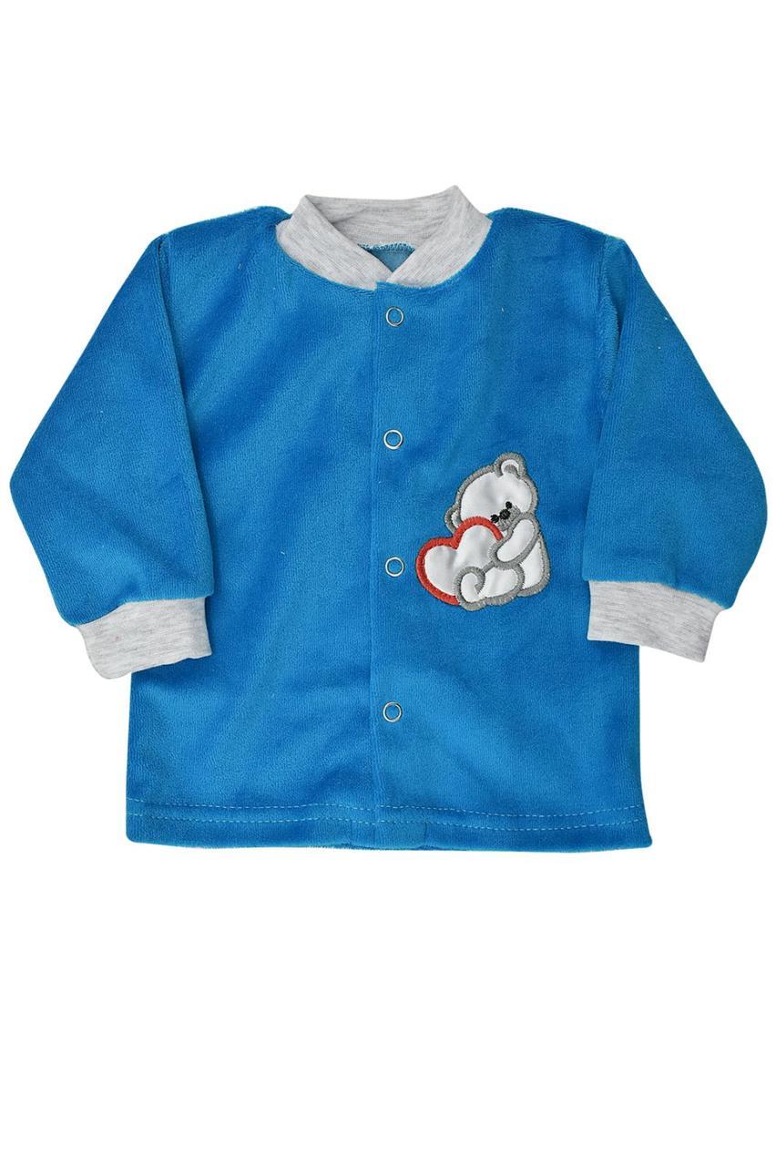 Кофточка для новонароджених на кнопках велюр Бома 56-74 розміри бірюзова 0306.60