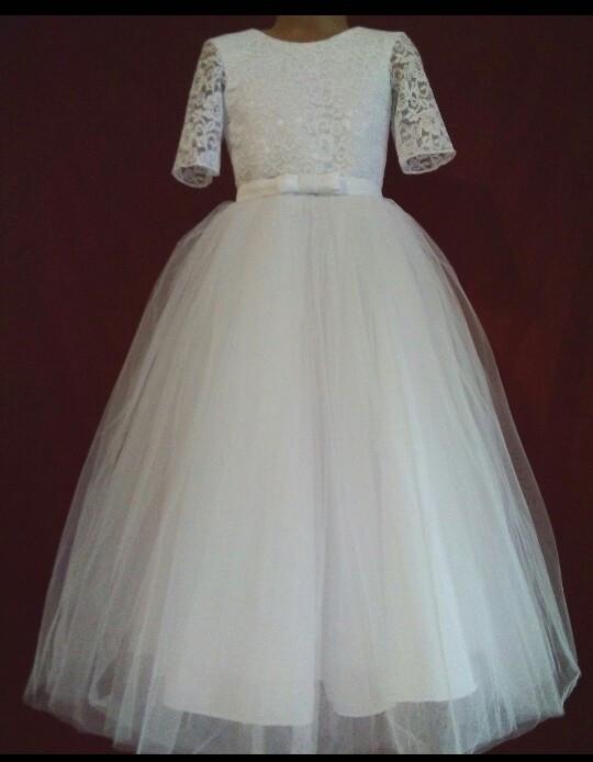 Плаття нарядне святкове для дівчинки Модняша від 3 до 8 років біле 508