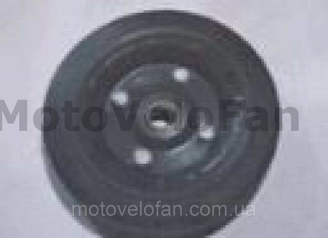 Колесо для тачек и платформ (литая резина)   (180/50- 100mm, под ось 17mm) (1 подшипник, 4 болта)   MRHD