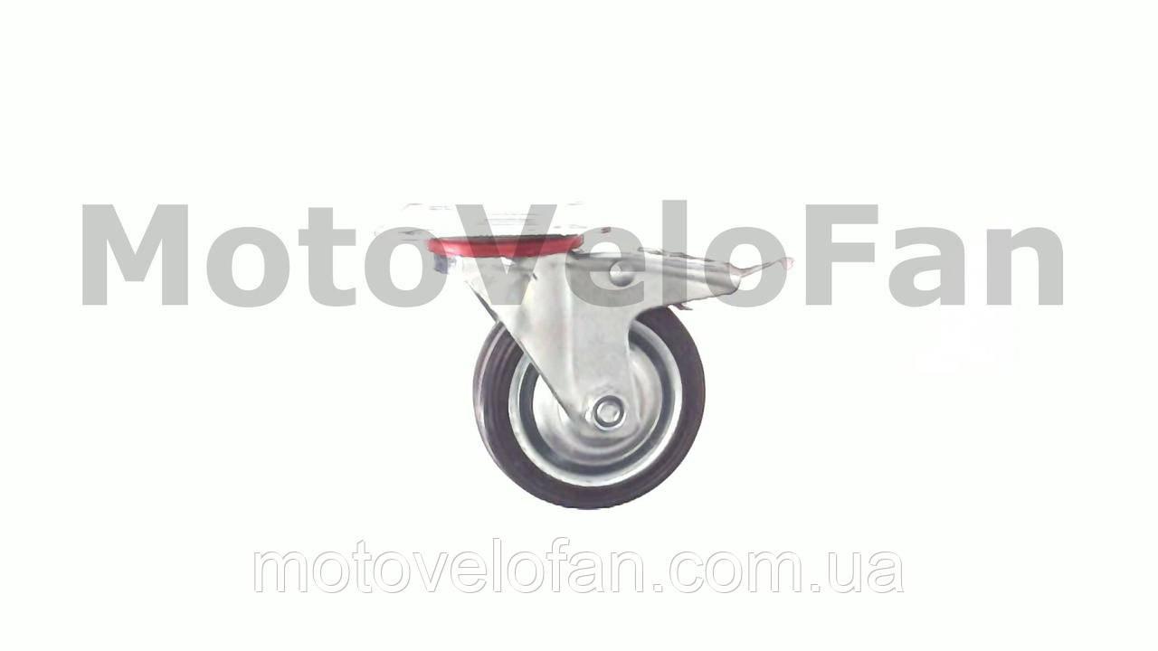 Колесо для тачек и платформ (литая резина)   (75mm, поворотный с креплением и тормозом)   MRHD