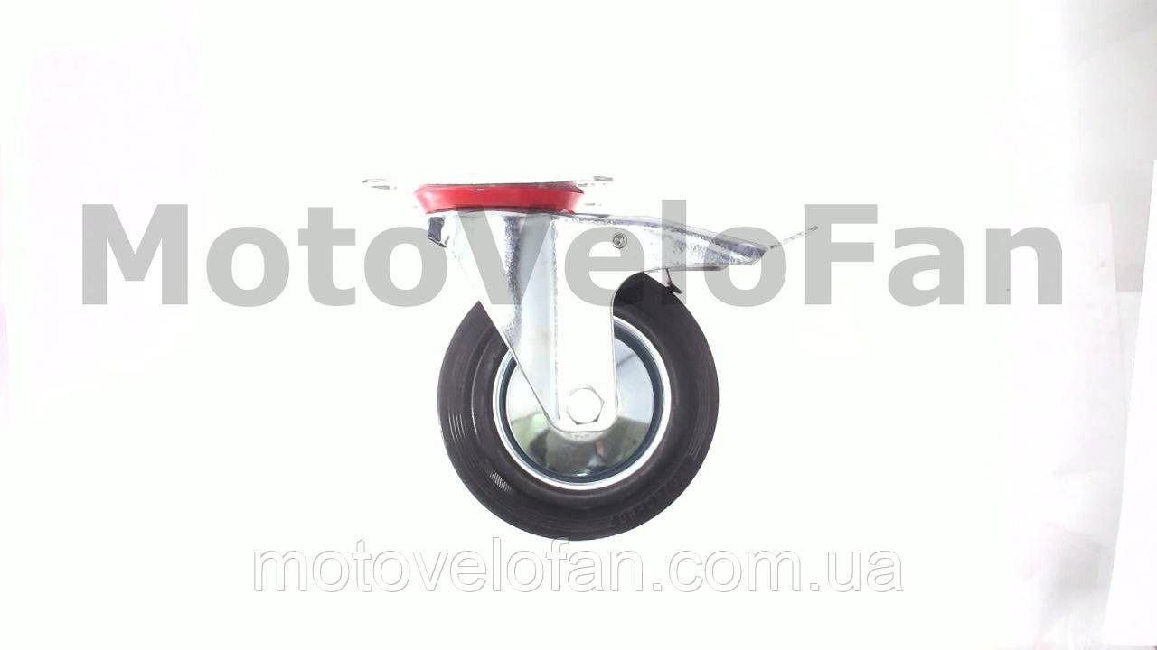 Колесо для тачек и платформ (литая резина) (в сборе с креплением и тормозом, поворотное)   (160/40-80mm)   MRHD