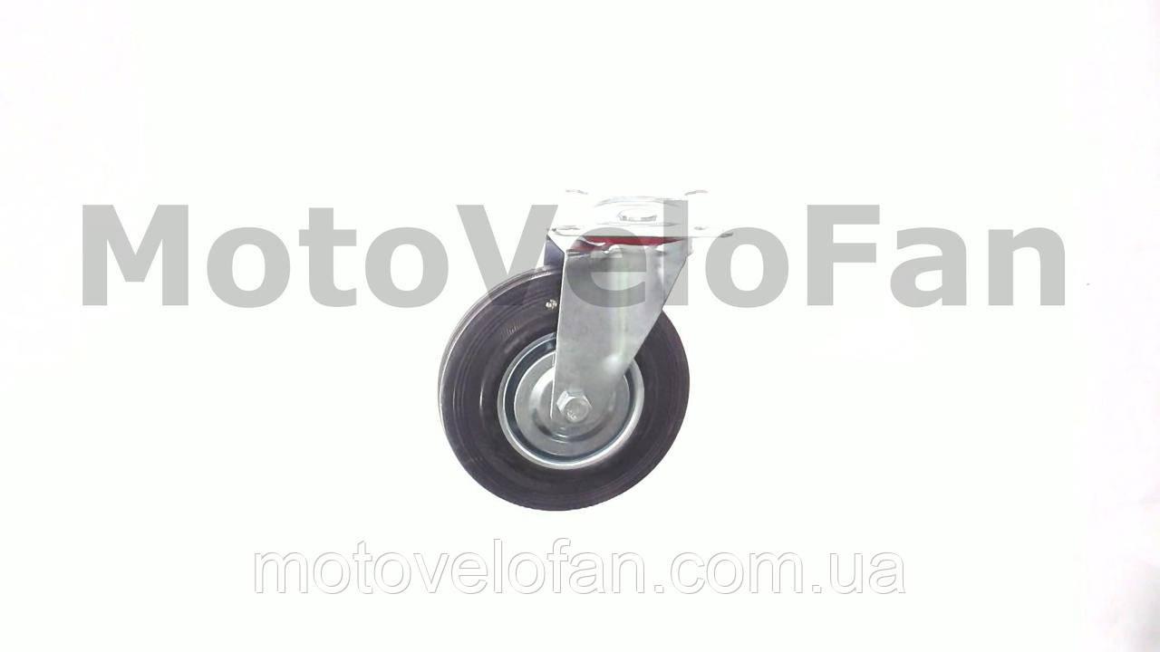 Колесо для тачек и платформ (литая резина) (в сборе с креплением, поворотное)   (125/37,5-50mm)   MRHD