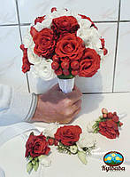 Букет невесты в красном цвете, фото 1