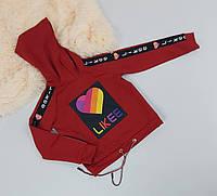 Трикотажная красная пайта с принтом для девочки 128-164 р